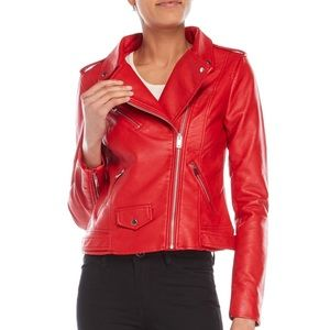 NWT Philosophy red vegan leather oversized blazer